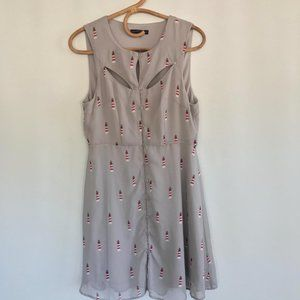 Sugarhill Boutique Gray Lighthouse Dress Size Med